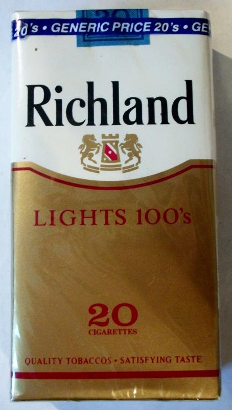 Richland Lights 100's - vintage American Cigarette Pack