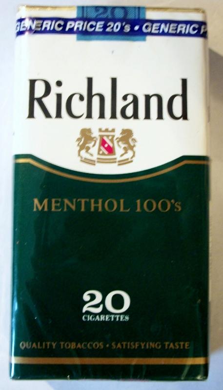 Richland Menthol 100's - vintage American Cigarette Pack