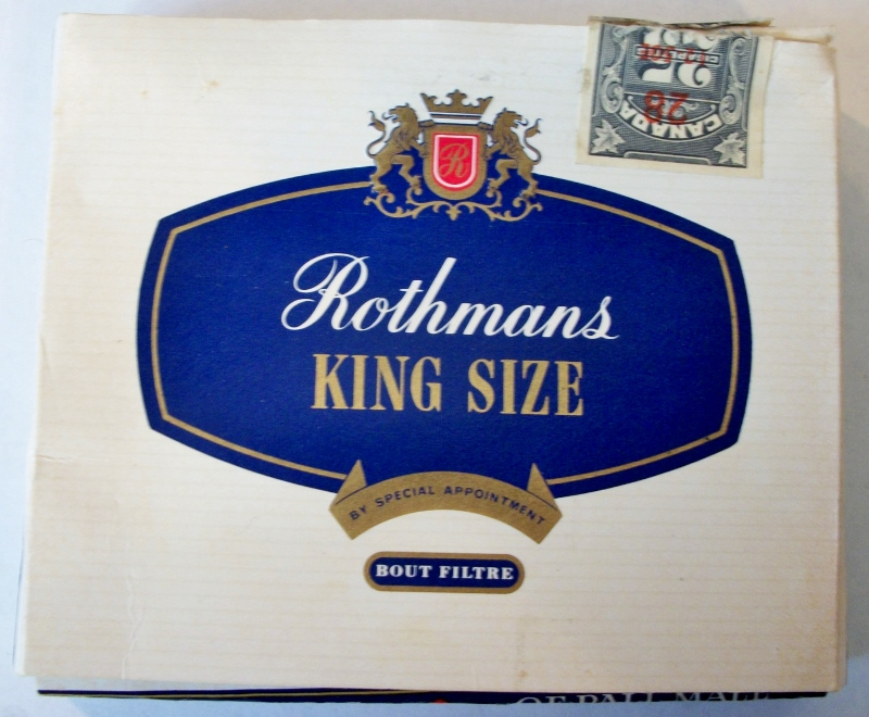 Rothmans King Size, Filter Tipped 25-pack - vintage Canadian Cigarette Pack
