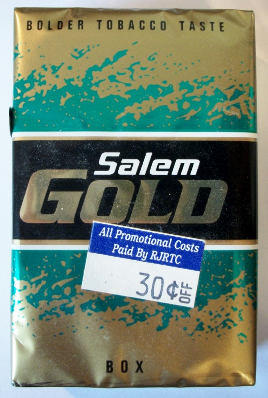 Salem Gold Box, King Size - vintage American Cigarette Pack
