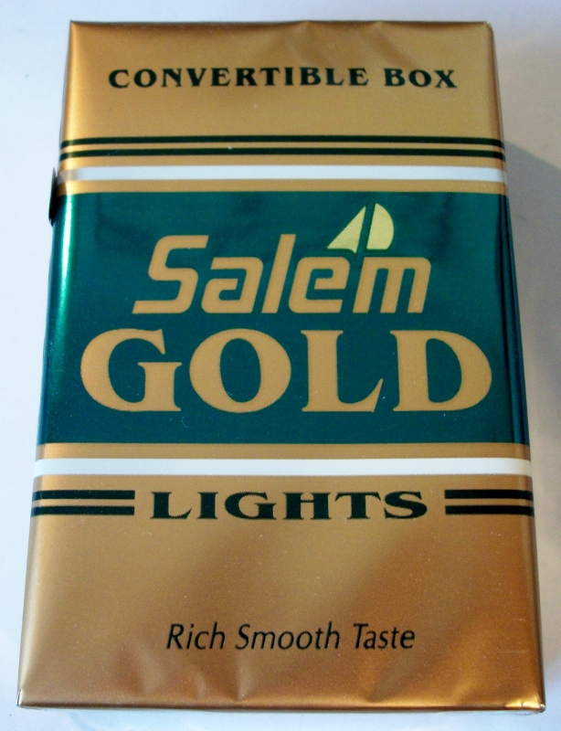 Salem Gold Lights Convertible Box, King Size - vintage American Cigarette Pack