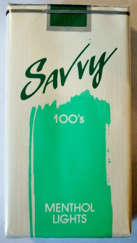 Savvy 100's Menthol Lights - vintage American Cigarette Pack