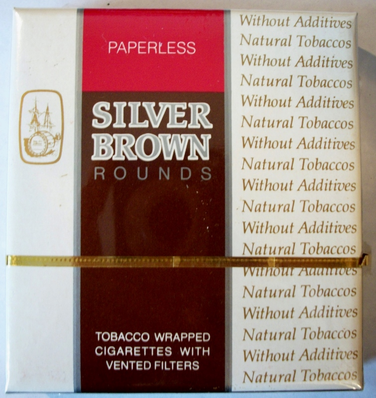 Silver Brown Rounds, Paperless, King Size - vintage American & Canadian Cigarette Pack