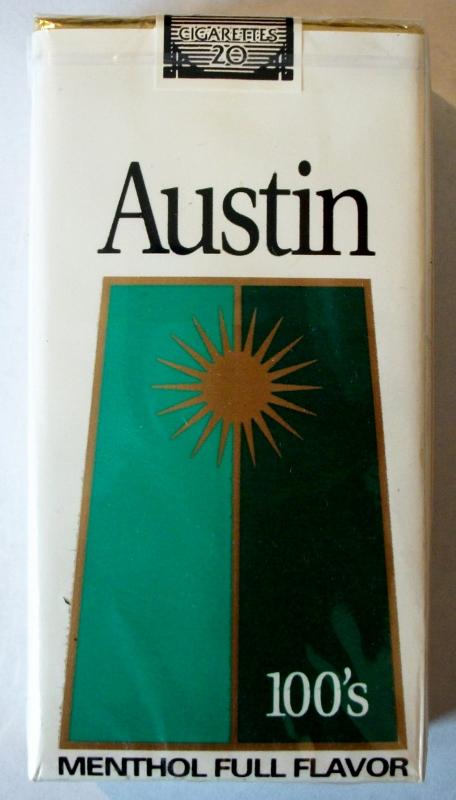 Austin Menthol Full Flavor 100's - vintage American Cigarette Pack