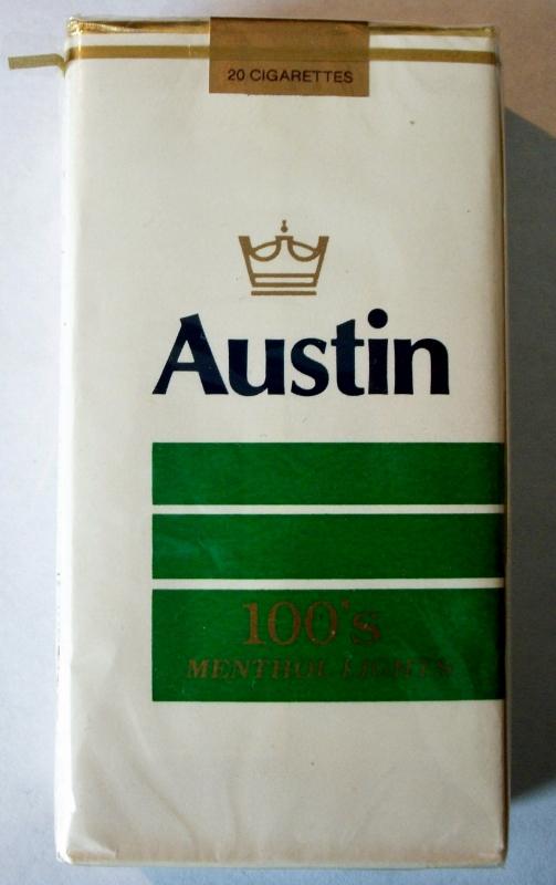 Austin Menthol Lights 100's - vintage American Cigarette Pack