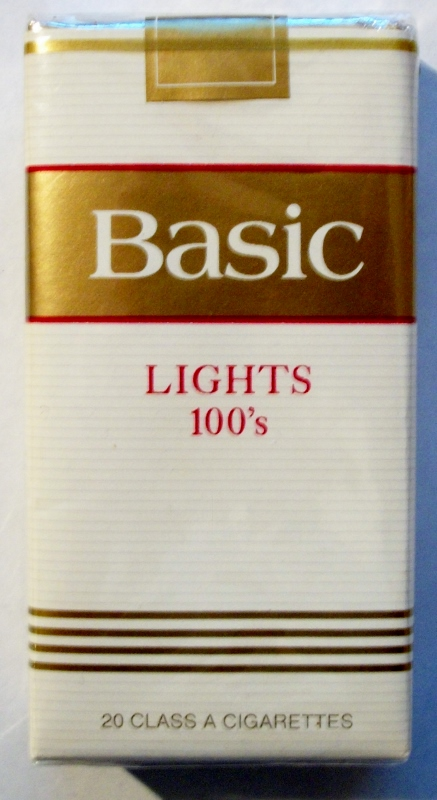 Basic Lights 100's (version 2) - vintage American Cigarette Pack