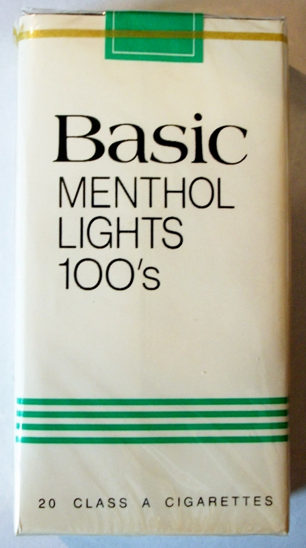 Basic Menthol Lights 100's - vintage American Cigarette Pack