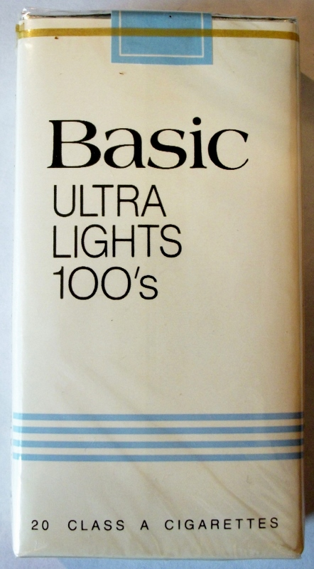 Basic Ultra Lights 100's - vintage American Cigarette Pack