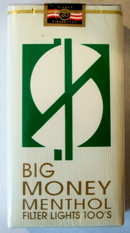 Big Money Menthol Filter Lights 100's - vintage American Cigarette Pack
