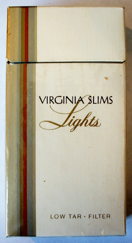 Virginia Slims Lights, Low Tar Filter 100's - vintage American Cigarette Pack