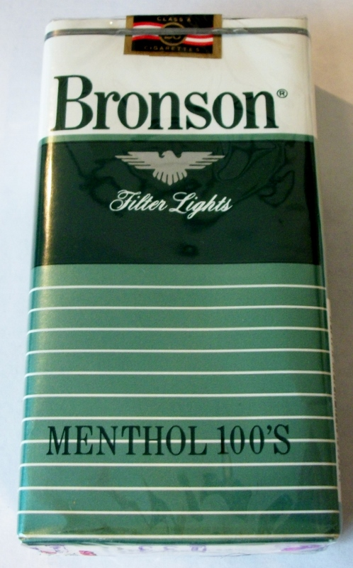 Bronson Menthol Filter Lights 100's - vintage American Cigarette Pack