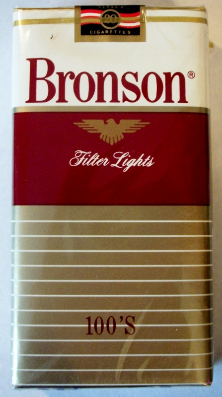 Bronson Filter Lights 100's - vintage American Cigarette Pack
