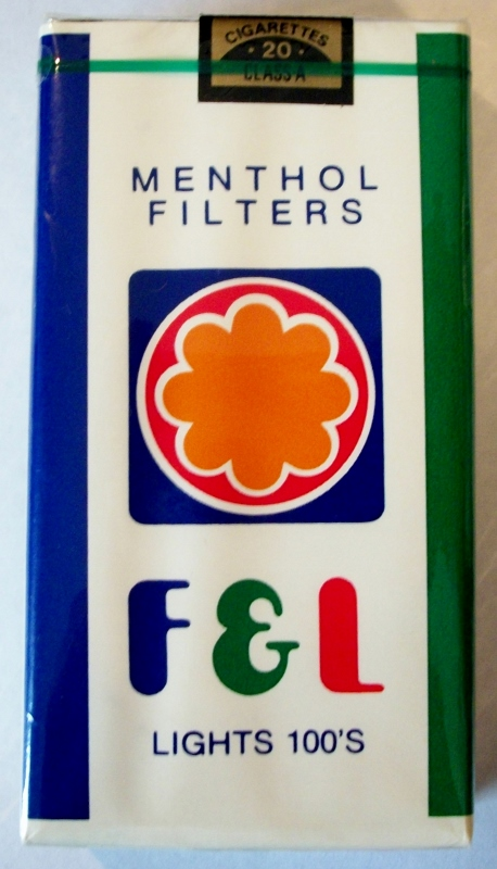 F & L Menthol Filters Lights 100's - vintage American Cigarette Pack