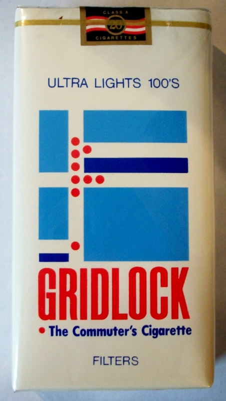 Gridlock Ultra Lights 100's Filters - vintage American Cigarette Pack
