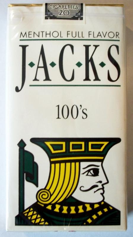 Jacks Menthol Full Flavor 100's - vintage American Cigarette Pack