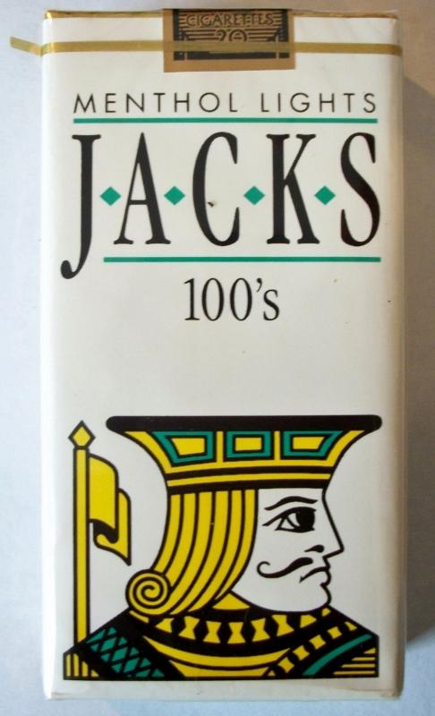 Jacks Menthol Lights 100's - vintage American Cigarette Pack