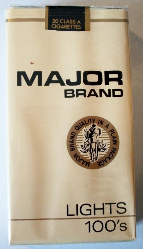 Major Brand Lights 100's - vintage American Cigarette Pack
