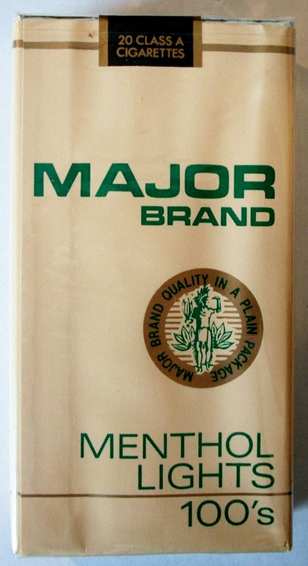 Major Brand Menthol Lights 100's - vintage American Cigarette Pack