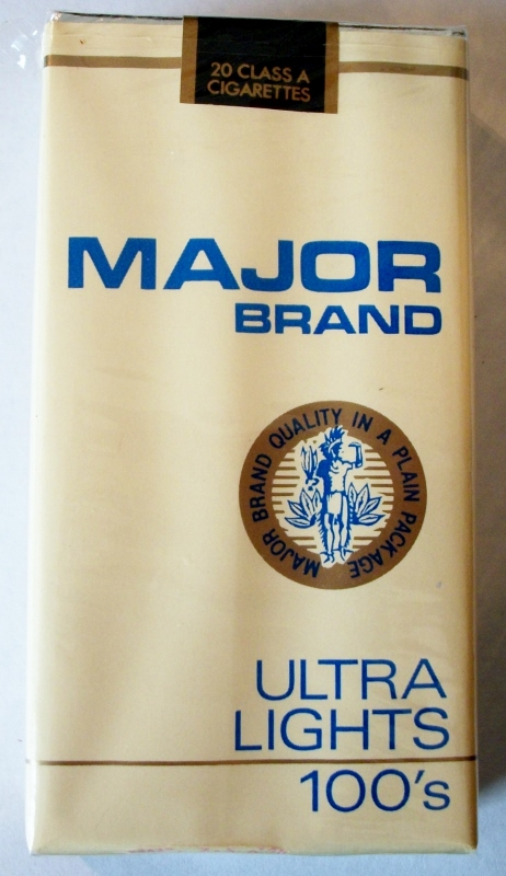 Major Brand Ultra Lights 100's - vintage American Cigarette Pack