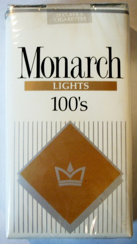 Monarch Lights 100's (Fredericksburg stamp) - vintage American Cigarette Pack