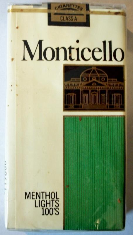 Monticello Menthol Lights 100's - vintage American Cigarette Pack