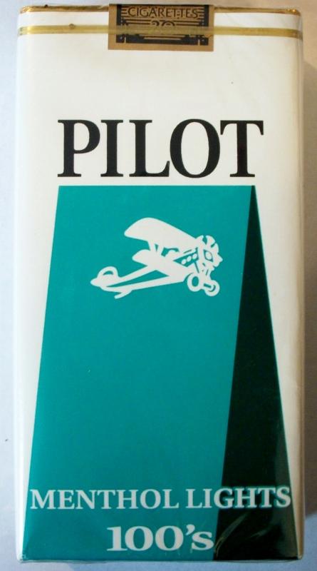 Pilot Menthol Lights 100's - vintage American Cigarette Pack