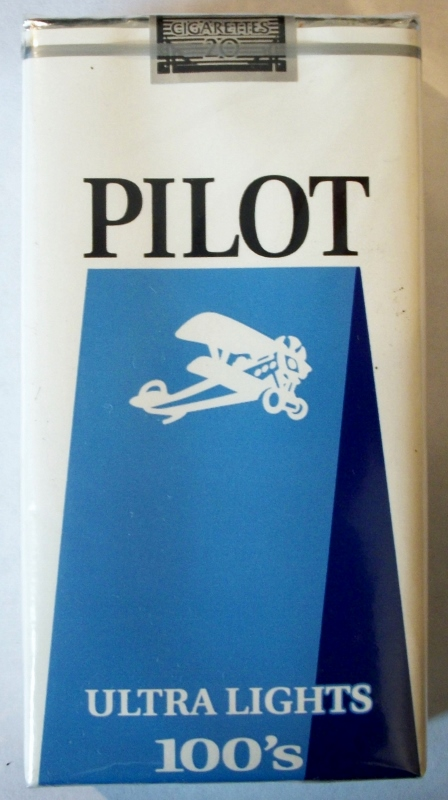 Pilot Ultra Lights 100's - vintage American Cigarette Pack