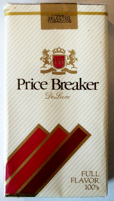 Price Breaker DeLuxe Full Flavor 100's - vintage American Cigarette Pack