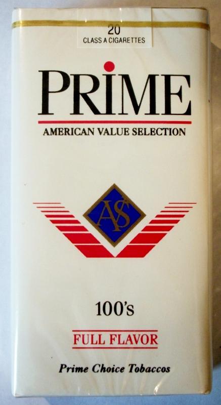 Prime Full Flavor 100's - vintage American Cigarette Pack