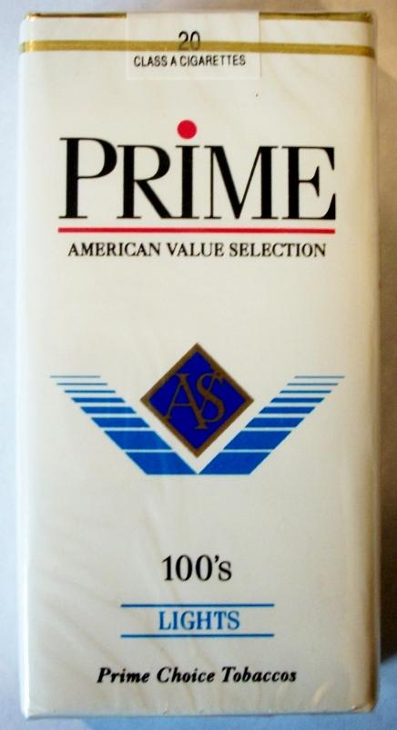 Prime Lights 100's - vintage American Cigarette Pack
