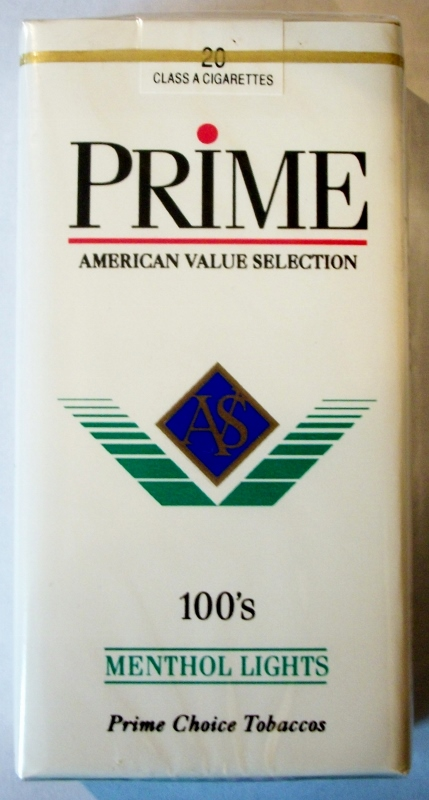 Prime Menthol Lights 100's - vintage American Cigarette Pack