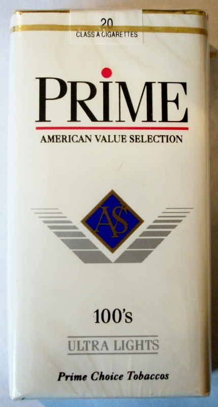 Prime Ultra Lights 100's - vintage American Cigarette Pack