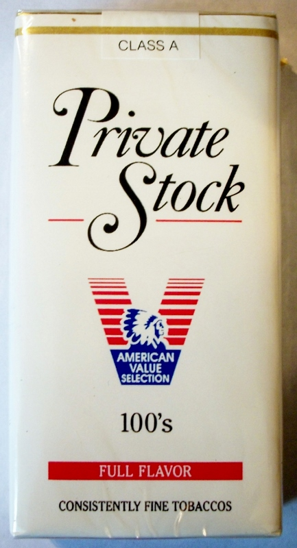 Private Stock Full Flavor 100's - vintage American Cigarette Pack