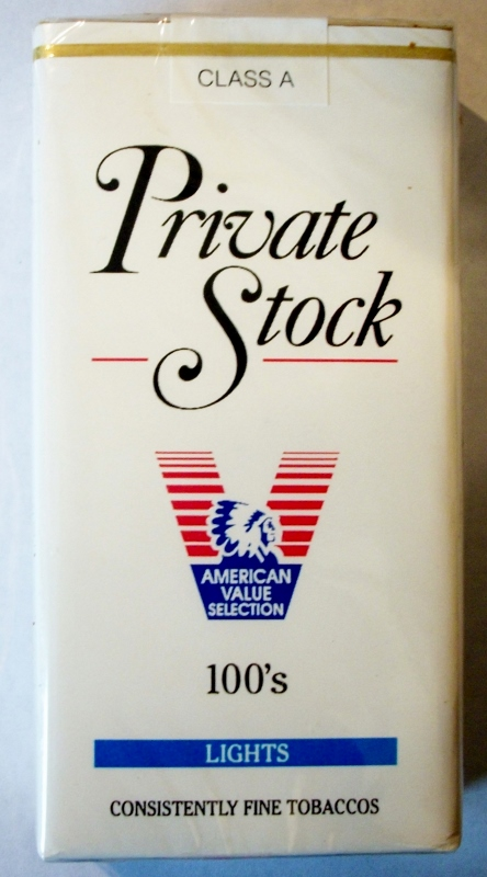 Private Stock Lights 100's - vintage American Cigarette Pack