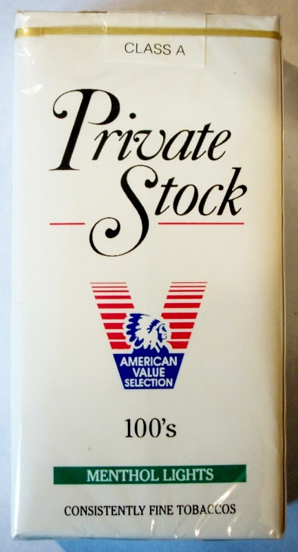 Private Stock Menthol Lights 100's - vintage American Cigarette Pack