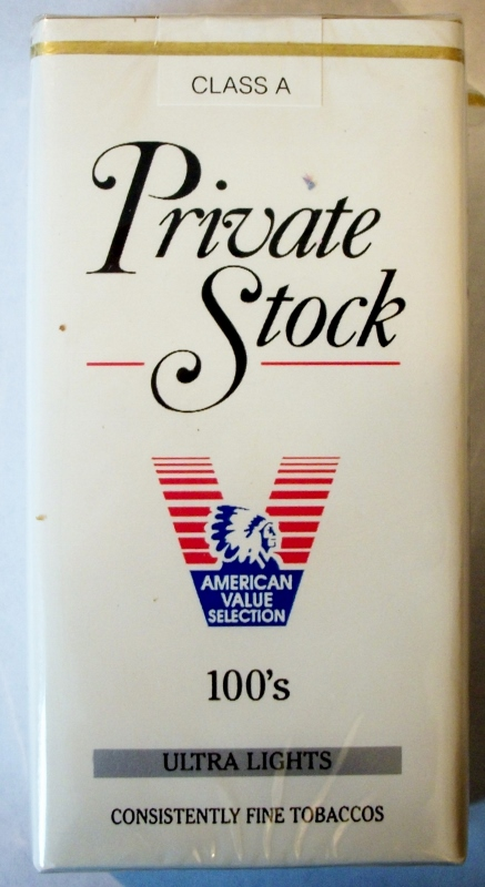 Private Stock Ultra Lights 100's - vintage American Cigarette Pack