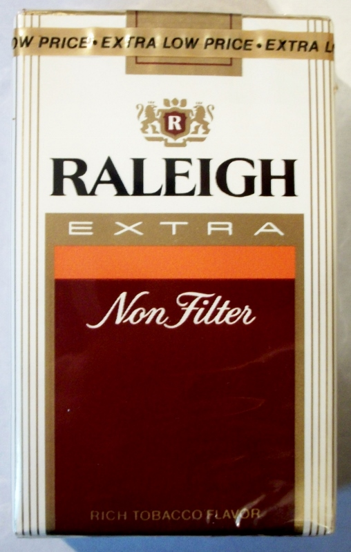 Raleigh Extra Non Filter, King Size - vintage American Cigarette Pack