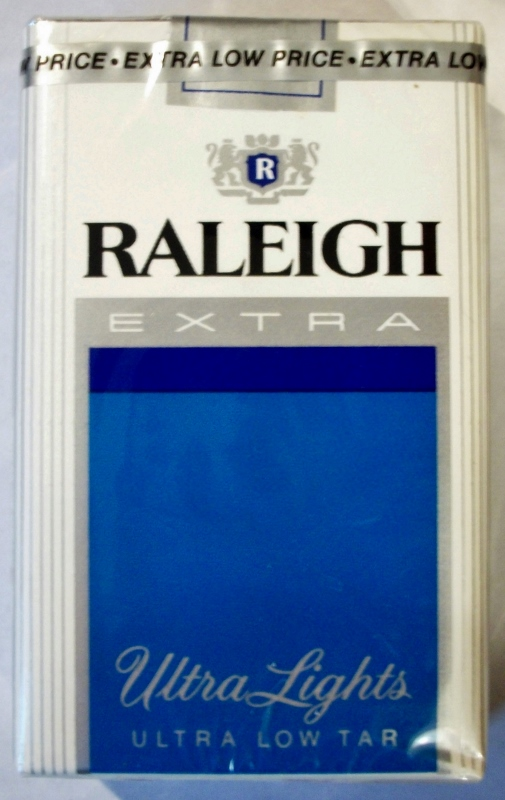 Raleigh Extra Ultra Lights, King Size - vintage American Cigarette Pack