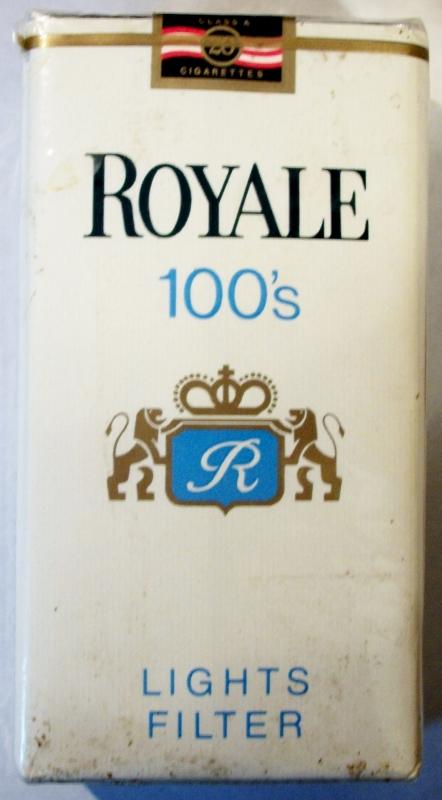 Royale Lights Filter 100's - vintage American Cigarette Pack