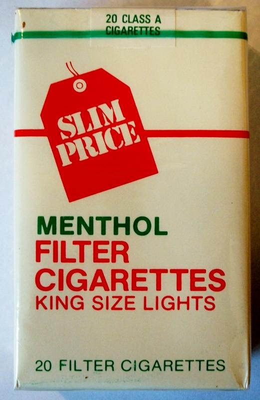 Vons Slim Price Menthol Filter, King Size Lights - vintage American Cigarette Pack