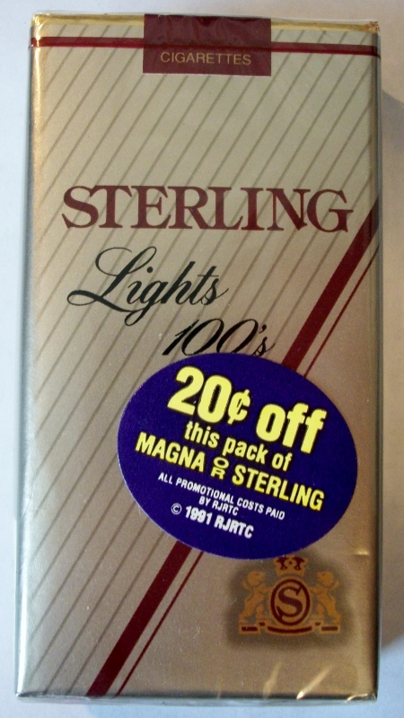 Sterling Lights 100's - vintage American Cigarette Pack