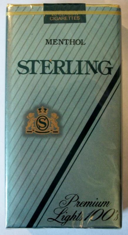 Sterling Menthol Premium Lights 100's - vintage American Cigarette Pack