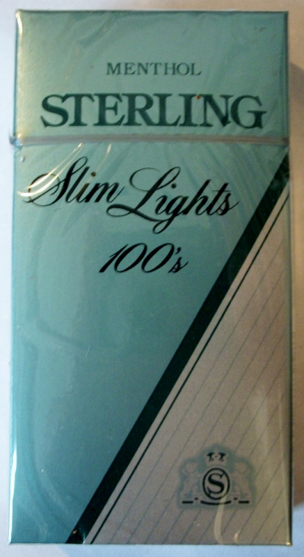 Sterling Menthol Slim Lights 100's Box - vintage American Cigarette Pack