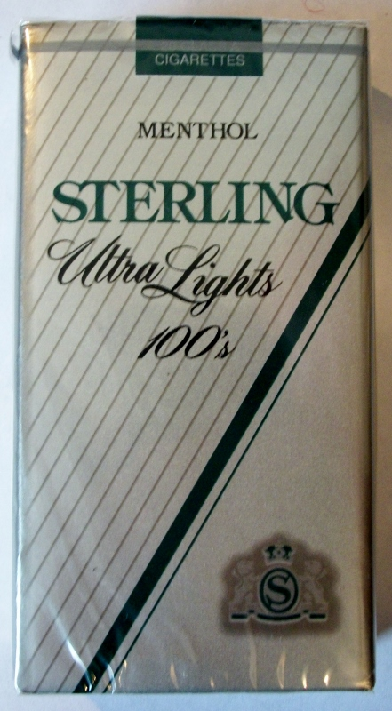 Sterling Menthol Ultra Lights 100's - vintage American Cigarette Pack