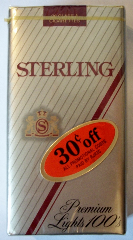 Sterling Premium Lights 100's - vintage American Cigarette Pack