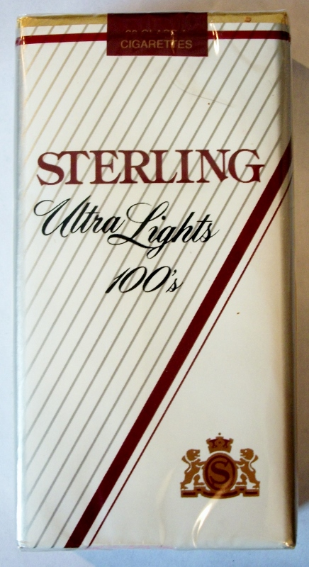 Sterling Ultra Lights 100's - vintage American Cigarette Pack