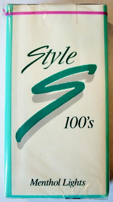 Style Menthol Lights 100's - vintage American Cigarette Pack