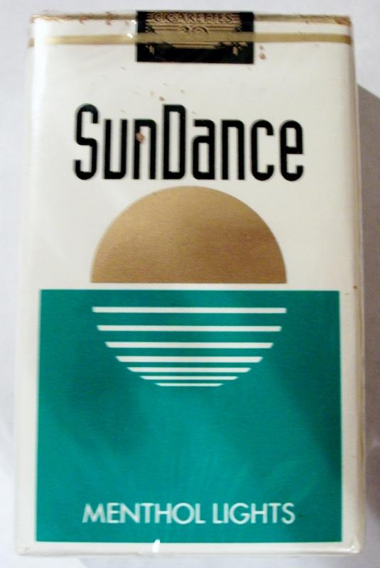 SunDance Menthol Lights, King Size - vintage American Cigarette Pack