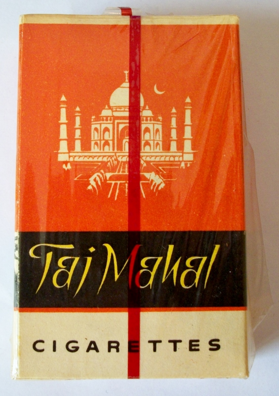 Taj Mahal 70mm - vintage Indian Cigarette Pack, NY Stamps