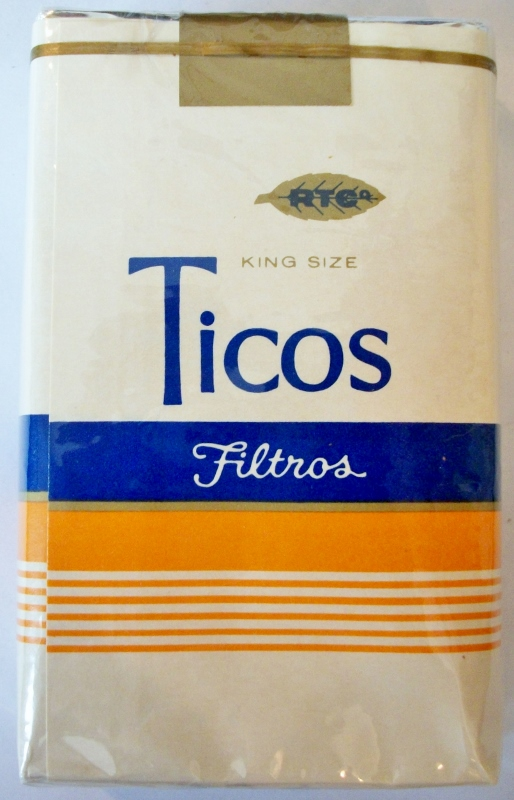 Ticos Filtros, King Size - vintage Costa Rican Cigarette Pack